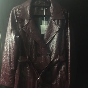 Missguided Burgundy Vinyl Trench coat